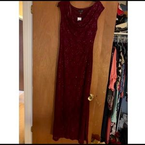 Connected Full Length Plum Evening Gown